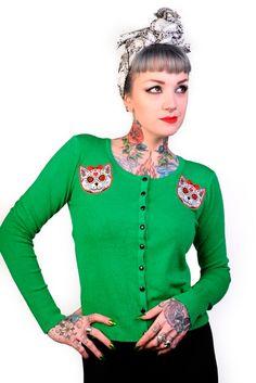 Cat Green-neuletakki - Naiset - Neuletakit - Underground Store & Piercing Studio
