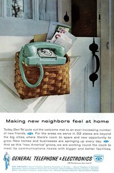 TELEPHONE~ 1960's Phone Ad  General Telephone by zippitydoodlepaper, etsy