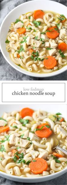 Warm up with a bowl of comforting, Low FODMAP Chicken Noodle Soup! Make this delicious gluten-free soup for supper and enjoy easy leftovers for lunch!