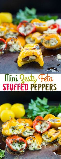 Mini Zesty Feta Stuffed Peppers. The freshest, easiest and quickest appetizer you'll ever make! Perfect for BBQ season or made in the broiler! Sweet, salty, spicy and utterly delicious. http://www.twopurplefigs.com
