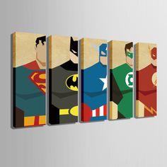 Oil Painting Canvas Super Hero Superman Batman Cartoon Modular Decoration Home Decor Modern Wall Pictures For Living Room - New Deko Sites Batman Cartoon, Batman Spiderman, Home Bild, Superhero Room, Superhero Canvas, Superhero Bathroom, Living Room Pictures, Wall Pictures, Painting Pictures