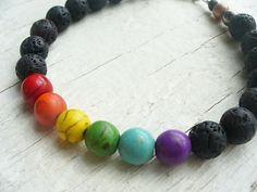 "Original Classy Rainbow GAY Pride Jewelry Black Lava Beaded Bracelet 7"" wrist MD"