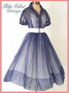 1950s sheer vintage shirt waist dress