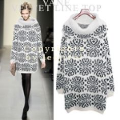 Abstract Patterned Turtleneck Dress