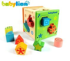 [US CPSC Certificated] Babylian Educational Sorting Cube Toys Bricks of Different Wooden Shapes and Colors for 1-3 Years Old young Childhood Intellectual Education -- Find out more details @