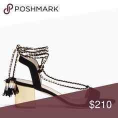 """Kate Spade Manor Ankle-tie Sandal Featured in the Kate Spade spring 2017 print ad campaign. Wrap-around ankle tie with tassels block heel sandals are a must have for summer. Black suede upper, braided cord and gold specchio leather covered 2"""" heel. Perfect condition never worn. Made in Italy. kate spade Shoes Sandals"""