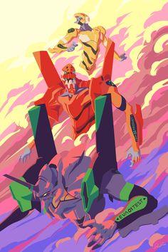 This HD wallpaper is about Neon Genesis Evangelion, mech, clouds, EVA Unit EVA Unit Original wallpaper dimensions is file size is Neon Genesis Evangelion, Evangelion Tattoo, Evangelion Shinji, Robot Illustration, Character Illustration, Evangelion Wallpaper, Manga Art, Anime Art, Arte Gundam