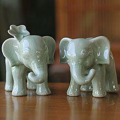 "Elephants inspired by Thailand's ""Khan Kluay"" animation cinema in fine celadon ceramic."