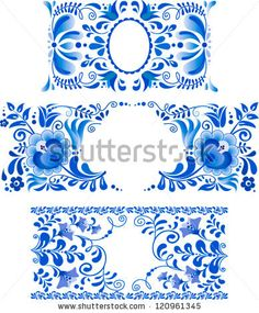 Russian ornaments art frames in gzhel style. Gzhel (a brand of Russian ceramics, painted with blue on white)