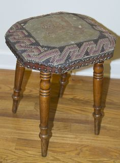 # 4733 Needlepointed Upholstered Stool Handsome Lion Needlepoint Stool c.1880  13.5 x 14.5 x 18High  - See more at: http://dearingantiques.com/?wpsc-product=4733-needlepointed-upholstered-stool#sthash.jRYYOD8d.dpuf