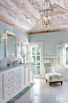 This coastal bathroom by Allison Paladino Interior Design is seriously stunning. Beach Cottage Style, Coastal Cottage, Beach House Decor, Coastal Decor, Home Decor, Coastal Style, Cottage Rugs, Beach Cottage Bedrooms, Coastal Furniture