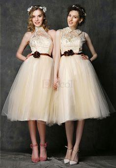 ❀ Aries The Bridesmaids Toast Stand collar Short Bridesmaid Dresses | Riccol ❤