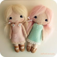 Absolutely adorable handmade dolls: daffodil and julip by Gingermelon, via Flickr