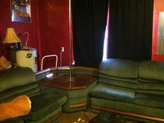 Custom sofa with built-in stripper pole. A must for every home.