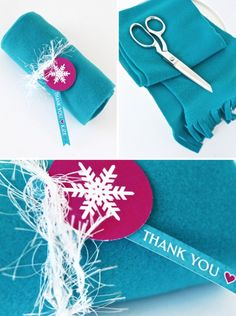 Party Favor ideas for a FROZEN birthday party like this Super-easy DIY Fleece Scarf at PagingSupermom.com #frozen