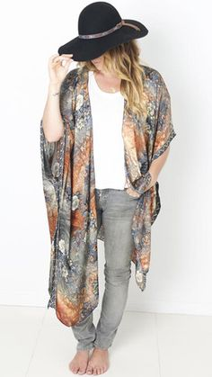 Blue and red chiffon kimono with jeans