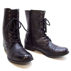 870b3b5364e Womens Steve Madden TROOPA Combat Military Lace Up Boots Size 10 Black  Leather  SteveMadden