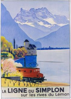 Vintage Railway Travel Poster - Line Simplon, to the borders of Lake Léman - Switzerland - by Emil Cardinaux - 1949.