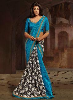 Fabulous #Bhagalpuri Silk Half And Half #Saree