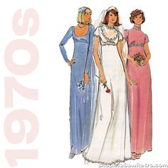 1970s Floor Length Gown Vintage Sewing Pattern - Butterick 5216 – WeSewRetro