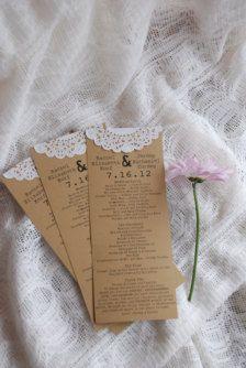 DIY - programs; also an idea for invitations