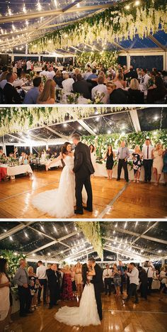 in love with the twinkle lights and hanging floral decor at this wedding! Perfect Wedding Dress, Dream Wedding Dresses, Designer Wedding Dresses, Bridal Dresses, Wedding Lighting, Event Lighting, Wedding Wishes, Wedding Bells, Mon Cheri Bridal