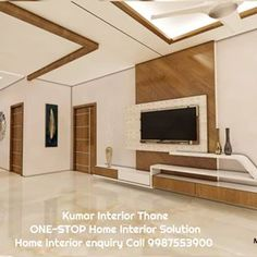Image may contain: indoor, possible text that says 'Kumar Interior Thane ONE-STOP Home Interior Solution Home Interior enquiry Call Wall Unit Designs, Living Room Tv Unit Designs, Tv Unit Furniture Design, Space Saving Furniture, Temple Design For Home, Modern Tv Wall Units, Tv Cabinet Design, Office Interior Design, House Design