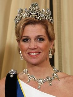 This is the tiara (and accompanying parure) that goes by a variety of names: the house diamonds, the Stuart Tiara, etc. Whatever you want to call it, it is the grandest set in the substantial Dutch royal collection, and it houses perhaps the single most important stone in the collection.