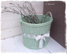 Купить Большая плетеная корзина Первый день весны - мятная плетеная корзина