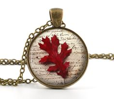 Autumn Leaf Necklace - Red Leaf Pendant - Picture Jewelry - Antiqued Bronze Necklace - Photo Pendant - Gift Bag Included on Etsy, $12.95