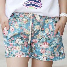 2016 Summer Style Shorts Fashion Floral Elastic Waist Drawstring Shorts Women…