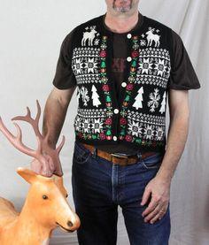 Ugly Christmas Sweater M size Alpine Lodge Vibe Deer Snowflakes Vest Nordic #Exchange #VestSleeveless