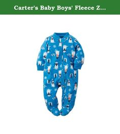 Carters Baby Boys Fleece Zip Sleep & Play (3M, Blue-Snowman). Perfect for cold-weather days, hell sleep, play and cuddle all day in this cozy 1-piece.