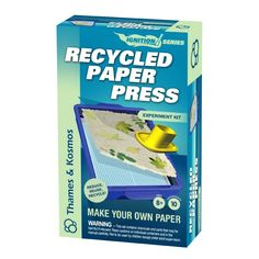 Recycle your scrap paper, old newspapers, and tissue paper into beautiful hand-crafted paper. Start with a slurry of paper pulp, drain it in the sieve tray, then press it flat with a special tool. Experiment with different paper fibers and add pigment tablets to change the color of your paper. Learn why recycling used materials into new ones is a crucial and growing practice around the world. Ages 8 and up.