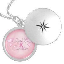 I'm a Survivor - Beutiful Breast Cancer Awareness Silver Locket Necklace #pinkribbon #breastcancer