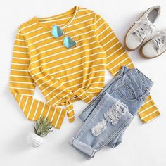 Knot Front Striped Tee #womensoutfits