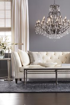 Ethan Allen sofa and chandelier Furniture, Living Room Color Schemes, Living Room Furniture, Accent Chairs For Living Room, Luxe Living Room, Home Decor, Country House Decor, Living Room Designs, Ethan Allen Living Room