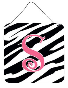 Letter S Initial Zebra Stripe and Pink Wall or Door Hanging Prints