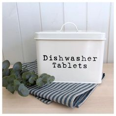 Vintage Style Dishwasher Tablet Canister CREAM – Ducks Nest Interiors and Gifts Wooden Storage Boxes, Storage Baskets, Wooden Boxes, Dishwasher Tablets, Basket Tray, Vintage Fashion, Vintage Style, First Aid, Next At Home
