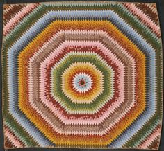 Sunburst Quilt - Made by Rebecca Scattergood Savery, American, 1770 - 1855 - Made in Philadelphia, Pennsylvania, Date: 1839, Roller-printed cotton plain weave pieced work; diamond quilting, Dimensions: 9 feet 7 inches × 9 feet 11 inches. The quilt contains almost four thousand diamond-shaped pieces, each about four inches long, that were first basted to a paper template to ensure uniformity of size before being meticulously whip-stitched together.