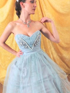 RESERVED Baby Blue 50s Prom Dress/Tea by SusieQsFlashback on Etsy