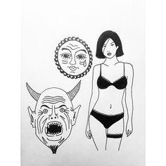 New super secret flash sheet collabo. #flash #flashtattoo #freethenipple #blacktattooflash #blacktraditional #blacktattoo #blackink #tattooflash #tattoo #ink #art #doodle #drawing #illustration by charlie.rivers