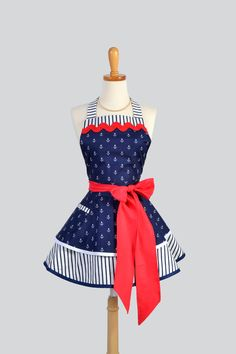 Ruffled Retro Apron / Handmade Flirty Full Womens by CreativeChics, $45.00