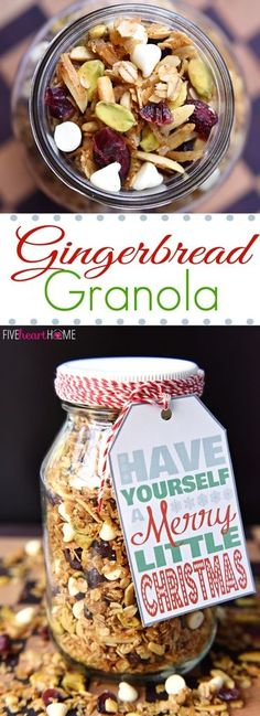 A perfect holiday granola - gingerbread granola. Makes a wonderful holiday gift too.