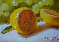 Green and Yellow by Elena Katsyura Oil ~ 5 x 7