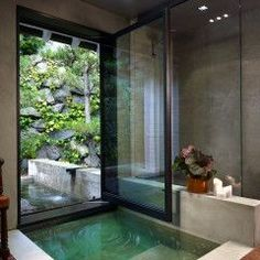 too good to be true... window goes all the way up and turns bathroom into swim-out pool area.