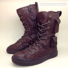 9980d66ae929 Converse All Star Girls Leather Combat Boots Brown sz 3 X HI Womens Boys  EU35 22