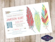 Like these colors >>>> POW WOW Birthday Invitation, Printable BIRTHDAY Invitation, Aztec Invitations, Feather Invitations, Indian Tribal, Feather Red Invitation by TweetPartyBoutique on Etsy https://www.etsy.com/listing/218309824/pow-wow-birthday-invitation-printable