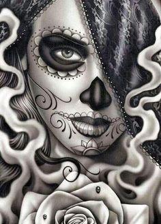 Sugar Skull Tattoo Sleeve Santa Muerte 50 New Ideas Chicano Art Tattoos, Kunst Tattoos, Bild Tattoos, Tattoo Drawings, Tattoo Sketches, Tattoo Art, Sugar Skull Mädchen, Sugar Skull Makeup, Skull Girl Tattoo