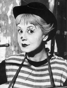 Italy's Chaplin: Guilietta Masina as Gelsomina in Fellini's La Strada. Loved her in Nights in Cabiria.